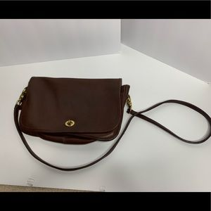 VINTAGE BROWN LEATHER CROSSBODY COACH PURSE BAG